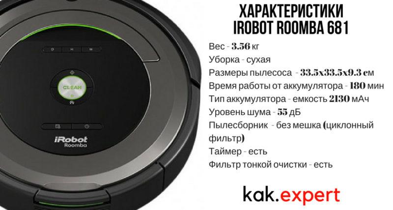 Характеристика Irobot Roomba 681
