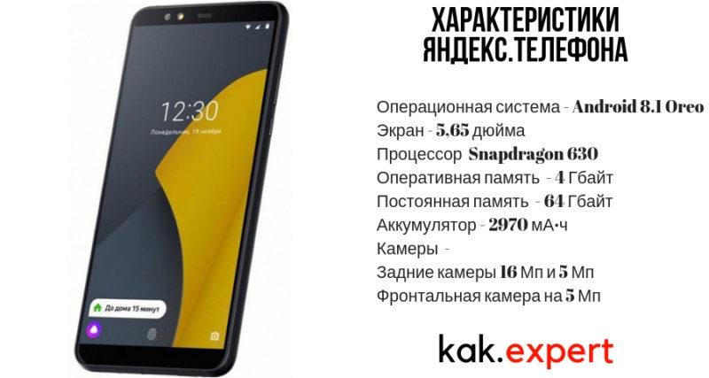 Характеристика яндекс телефона