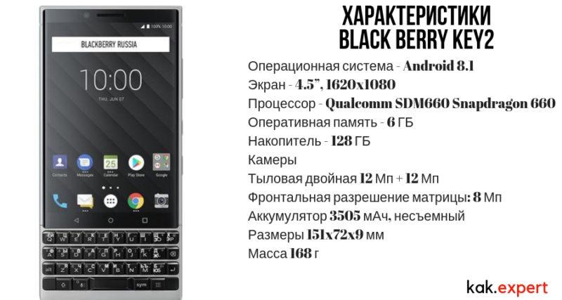 Характеристики Black Berry KEY2